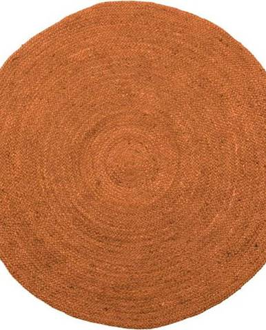Hnědý jutový koberec WOOOD Ross,ø150 cm