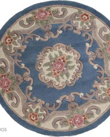 Modrý vlněný koberec Flair Rugs Aubusson, ⌀ 120 cm