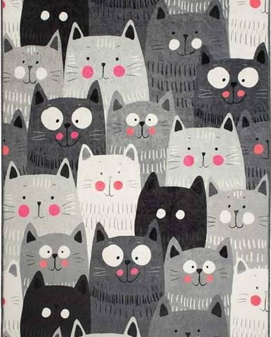 Šedý dětský protiskluzový koberec Chilai Cats,140x190cm