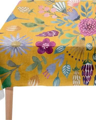 Ubrus s příměsí lnu Madre Selva Colourful Flowers, 140x250cm