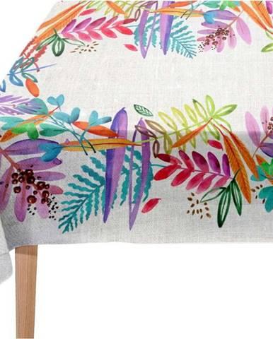 Ubrus s příměsí lnu Madre Selva Floral, 140 x 140 cm
