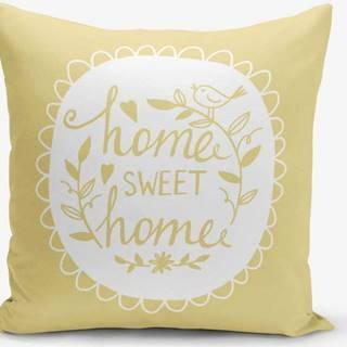 Žlutý povlak na polštář Minimalist Cushion Covers Home Sweet Home, 45 x 45 cm