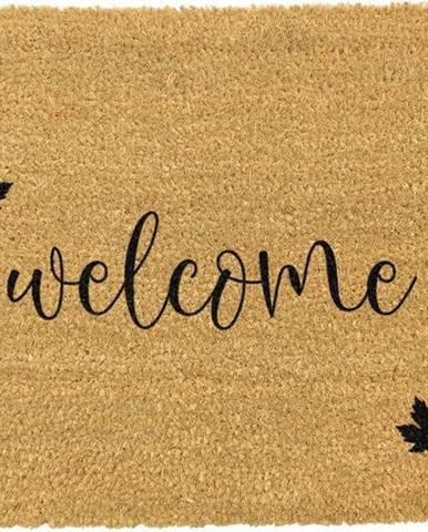 Černá rohožka z přírodního kokosového vlákna Artsy Doormats Welcome Autumn,40x60cm