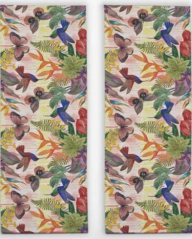 Sada 2 stolních běhounů s příměsí lnu Madre Selva Colorful Jungle