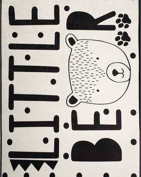 Chilai Černo-bílý dětský protiskluzový koberec Chilai Little Bear,140x190 cm