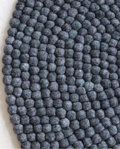 Antracitový kuličkový vlněný koberec Wooldot Ball Rugs, ⌀ 90 cm