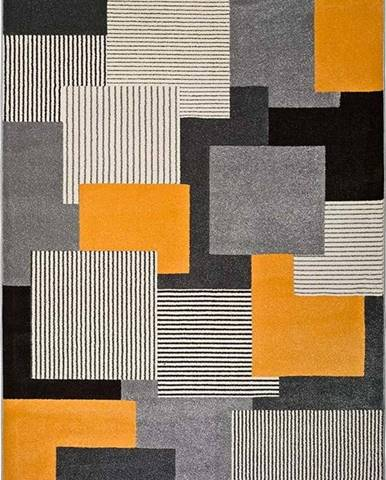 Šedo-oranžový koberec Universal Leo Square, 80 x 150 cm