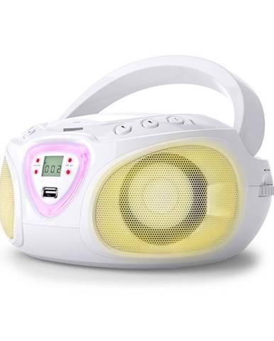 Auna Roadie, boombox, bílý, CD, USB, MP3, FM/AM rádio, bluetooth 2.1, LED barevné efekty