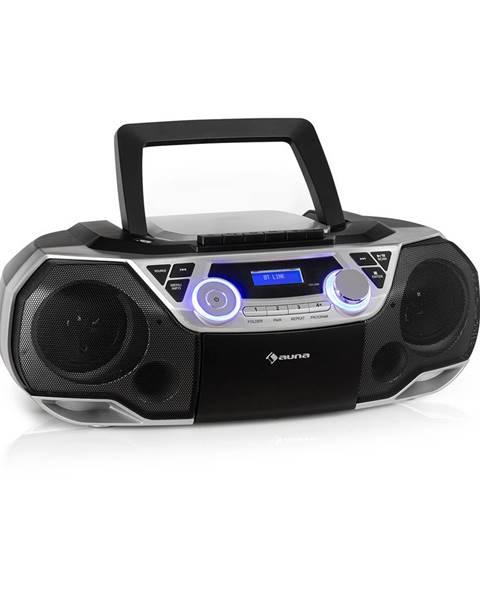 Auna Auna Roadie 2K, boombox, CD přehrávač, kazetové rádio, DAB/DAB+, UKW, bluetooth, stříbrný