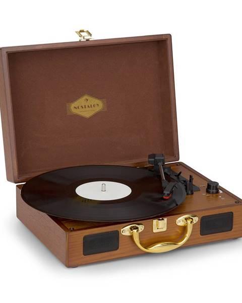 Auna Nostalgy by Auna, Peggy Sue, retro gramofon, desky, USB, AUX, vzhled dřeva/zlatá