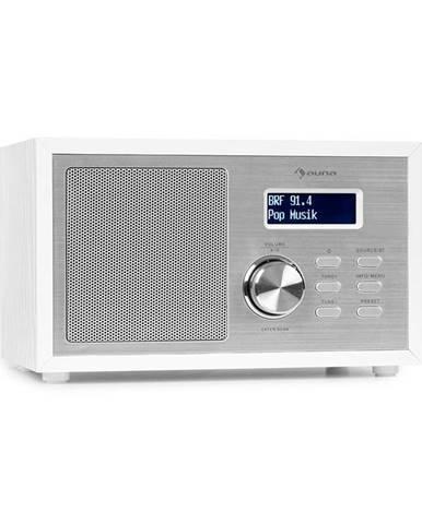Auna Ambient DAB +/FM, rádio, BT 5.0, AUX vstup, LCD displej, budík, časovač, dřevěný vzhled, bílé
