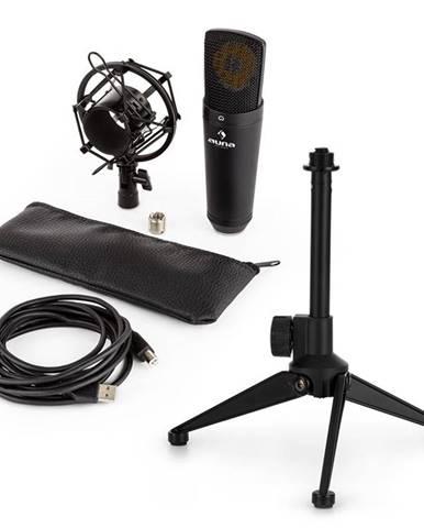 Auna MIC-920B USB mikrofonní sada V1 – černý velkomembránový mikrofon a stolní stojánek