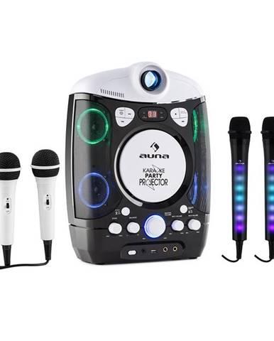 Auna Set: karaoke systém Kara Projectura, černý + dva mikrofony Kara DAZZLE, LED podsvícení