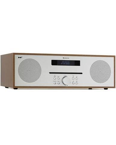 Auna Silver Star CD-DAB, rádio s CD, 2 x 20 W max., štěrbinový CD přehrávač, DAB+, BT, ALU, hnědý