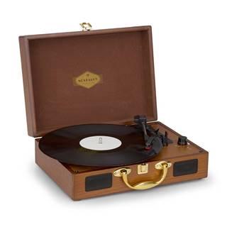 Nostalgy by Auna, Peggy Sue, retro gramofon, desky, USB, AUX, vzhled dřeva/zlatá