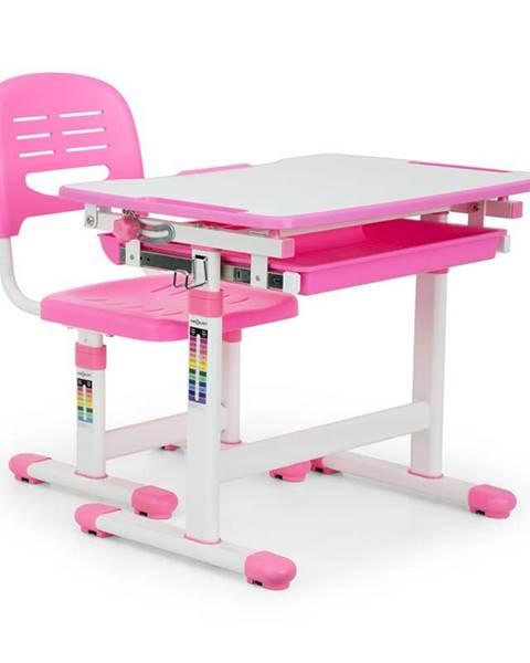 OneConcept OneConcept Annika dětský psací stůl, dvoudílná sada, stůl, židle, výškově nastavitelné, růžová