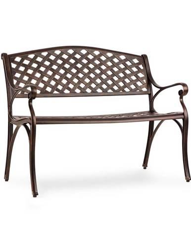 Blumfeldt Pozzilli AN, zahradní lavička, litý hliník, odolná vůči počasí, starožitná měď