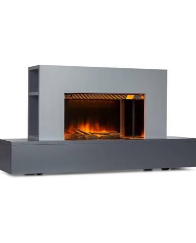Klarstein Heat 'n Beat, elektrický krb, 900/1800 W, LED, bluetooth reproduktory, šedý