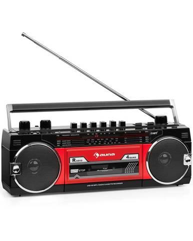 Auna Duke MKiiII, magnetofon, rádio, BT, USB, SD slot, teleskopická anténa, černo-červený