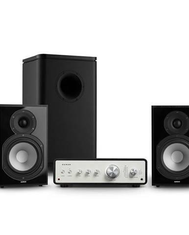 Numan Drive 802, stereo sada, stereo zesilovač, regálový reproduktor, subwoofer, černá
