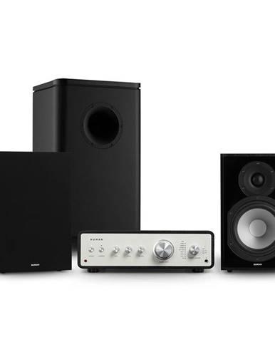 Numan Drive 802, stereo sada, stereo zesilovač, regálový reproduktor, subwoofer, kryt, černá