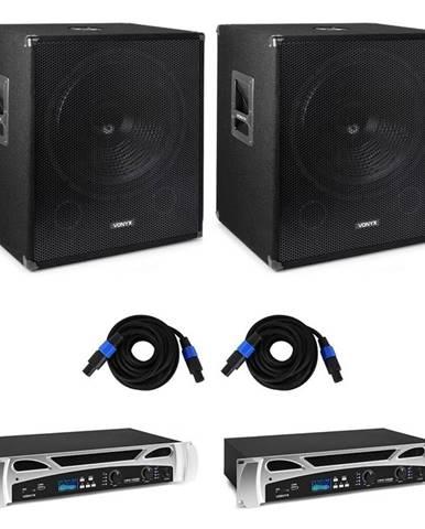 Vonyx Bass Storm DJ PA, 2 x PA zesilovač 500 W, 2 x PA subwoofer 600 W