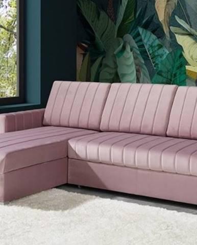 Rohová sedačka rozkládací morgat levý roh úp růžová