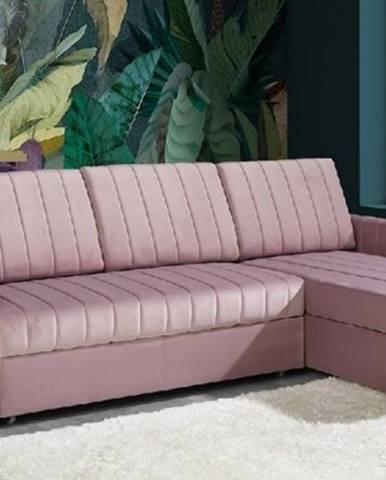 Rohová sedačka rozkládací morgat pravý roh úp růžová