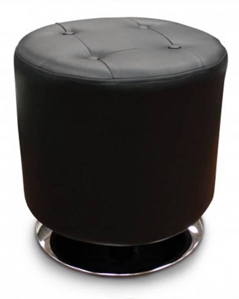 Halmar Kožený taburet dora kruh černá