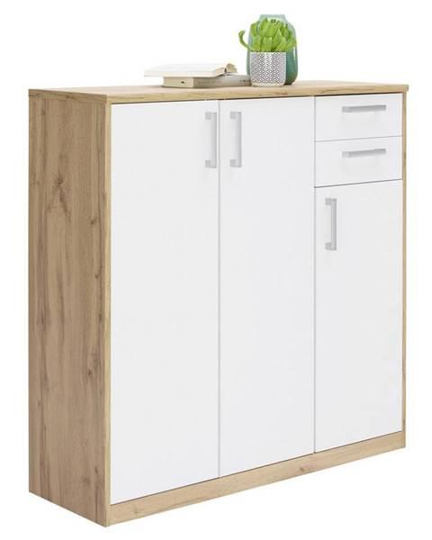 Xora Xora KOMODA, bílá, barvy dubu, 106/110/36 cm - bílá, barvy dubu