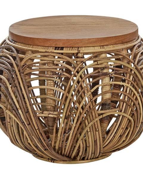 Ambia Home Ambia Home TABURET, dřevo, kov, přírodní materiály, 42/30 cm - přírodní barvy, černá