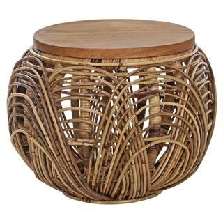 Ambia Home TABURET, dřevo, kov, přírodní materiály, 42/30 cm - přírodní barvy, černá