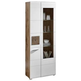 Hom`in VITRÍNA, bílá, barvy dubu, 75/202/37 cm - bílá, barvy dubu