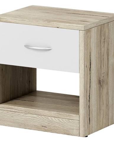 Boxxx NOČNÍ STOLEK, dub, bílá, barvy dubu, 39/41.5/28 cm - bílá, barvy dubu