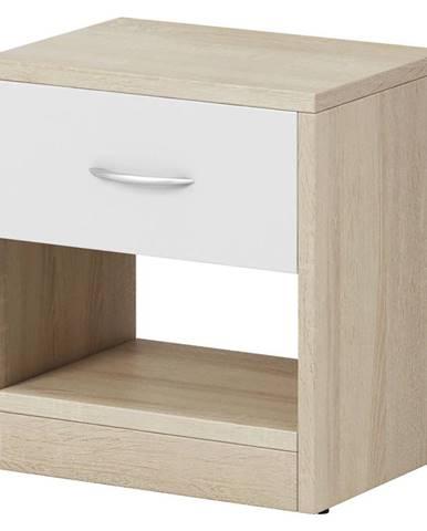 Boxxx NOČNÍ STOLEK, dub, bílá, Sonoma dub, 39/41.5/28 cm - bílá, Sonoma dub