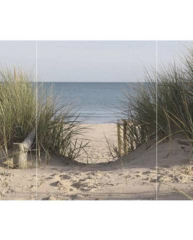 OBRAZ SKLENĚNÝ, pláž & moře, 80/120/1,40 cm - vícebarevná