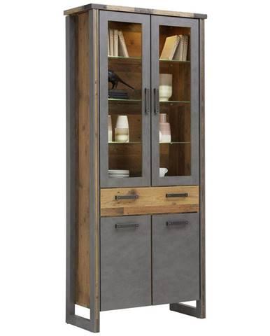 Hom`in VITRÍNA, šedá, barvy pinie, 89/212/42 cm - šedá, barvy pinie