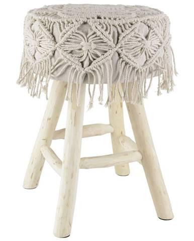 Ambia Home TABURET, dřevo, textil, 33/46 cm - krémová, barvy borovice