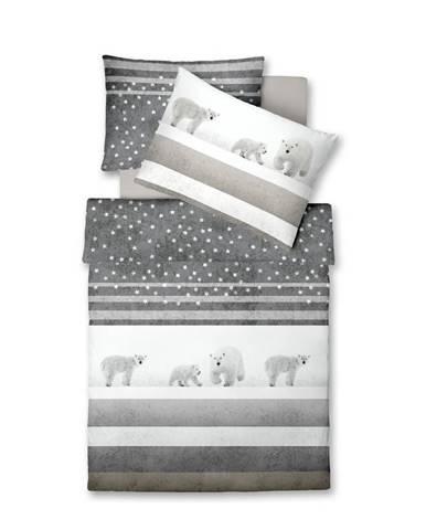 Fleuresse POVLEČENÍ, flanel, šedá, bílá, 140/200 cm - šedá, bílá