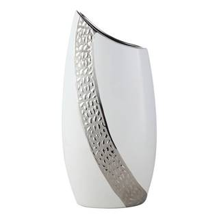 Ambia Home VÁZA, keramika, 39 cm - barvy stříbra, bílá