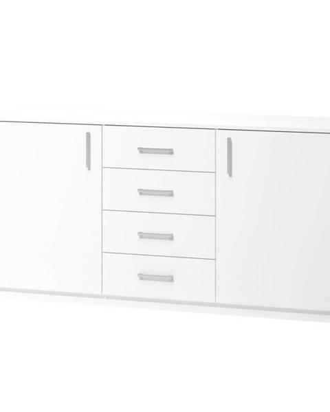 Xora KOMODA, dub, bílá, 159.9/80/39.6 cm - bílá