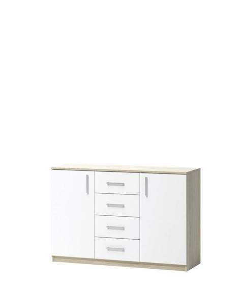 Xora KOMODA, dub, bílá, Sonoma dub, 119.7/80/39.6 cm - bílá, Sonoma dub