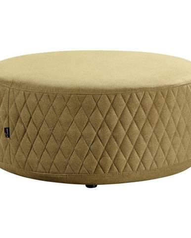 Carryhome TABURET, dřevo, textil, 80/80/36 cm - žlutá
