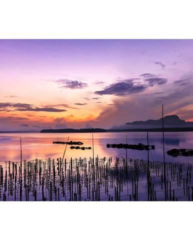 Monee OBRAZ SKLENĚNÝ, západ slunce, - vícebarevná