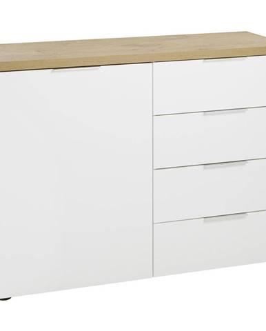 Xora KOMODA, bílá, barvy dubu, 120/89/43 cm - bílá, barvy dubu