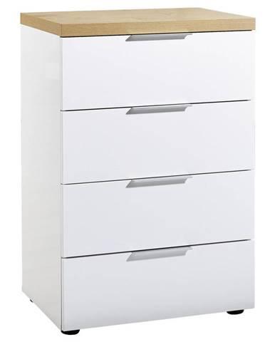 Xora KOMODA, bílá, barvy dubu, 60/89/43 cm - bílá, barvy dubu