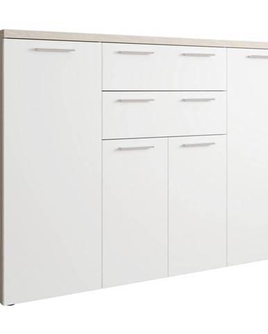 Xora KOMODA, bílá, Sonoma dub, 148/103,5/40 cm - bílá, Sonoma dub