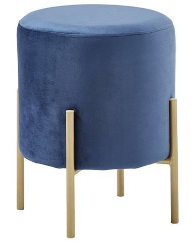 Xora TABURET, kov, textil, 35/42/35 cm - modrá, barvy zlata