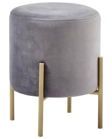 Xora TABURET, kov, textil, 35/42/35 cm - šedá, barvy zlata