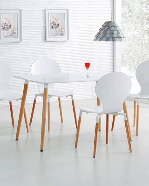 HM MÖBEL Halmar Jídelní stůl Socrates, obdélníkový, matný bílý/buk